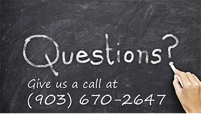 Questions? Call us at 903 670 2647