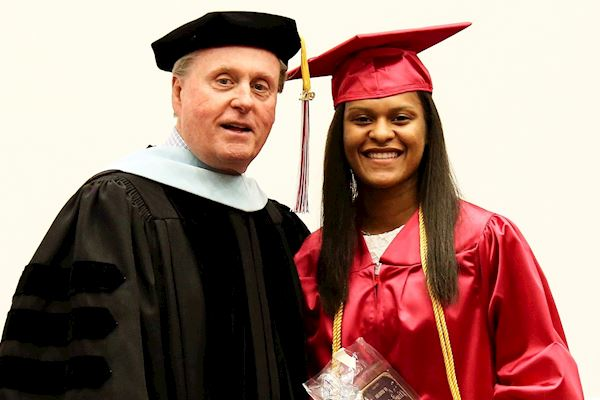 TVCC President Jerry King, Ed.D. with President's Award Recipient Tra'Dayja Smith