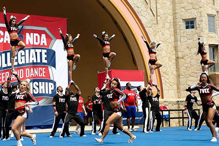 TVCC cheerleaders competing at NCA in Daytona Beach